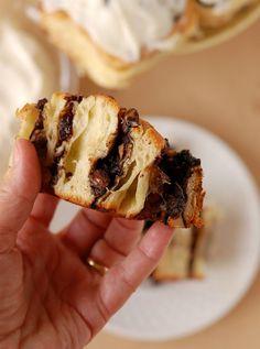 Chocolate Cherry Almond Brioche Buns with Cream Cheese Frosting #BreadBakers - Baking Sense