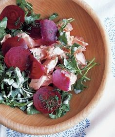Poached Salmon Salad With Beets | Commemorate the holiday with both classic and non-traditional foods for your Passover feast.