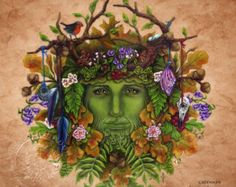 green man mask with flowers