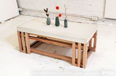 DIY concrete table top I love the mixture of concrete and wood