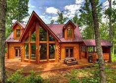 wood cabin + large windows = Dream Home #LogCabinHomes