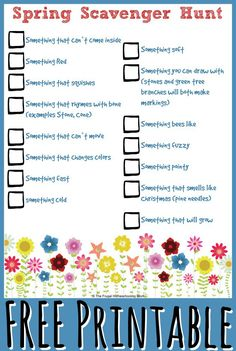 Free Printable Spring Scavenger Hunt --- 2 versions at The Frugal Homeschooling Mom hard version I think this would work great, what do you think? Scavenger Hunt List, Outdoor Scavenger Hunts, Nature Scavenger Hunts, Scavenger Hunt For Kids, Easter Scavenger Hunt, Games For Kids, Activities For Kids, Indoor Activities, Enrichment Activities