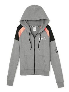 Gray, coral, and black PINK hoodie Victoria Secret Outfits, Victoria Secrets, Victoria Secret Pink, Slim Fit Hoodie, Full Zip Hoodie, Pink Outfits, Fashion Outfits, Cute Outfits For School, Pink Jacket