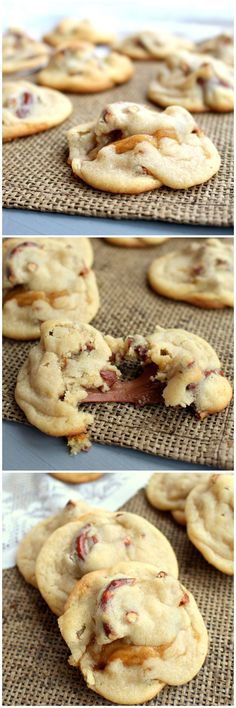 Caramel Stuffed Pretzel Cookies- really good recipe. Pretzels lose some of their crunch during refrigeration process and it doesn't come back after baking. Perhaps try rolling cookies in them right before baking next time Pretzel Cookies, Yummy Cookies, Cookies Soft, Rollo Cookies, Carmel Cookies, Rolo Pretzels, Chip Cookies, Cookie Desserts, Cookie Recipes