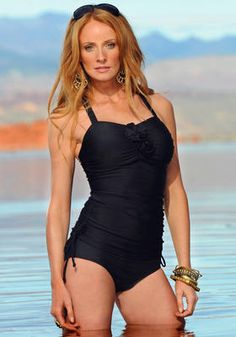 Black Flower Ruched Tankini Modest Swimsuit
