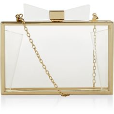 Accessorize Bow Acrylic Clutch ($59) ❤ liked on Polyvore featuring bags, handbags, clutches, clear purse, chain strap purse, acrylic purse, clear lucite purse and embellished handbags