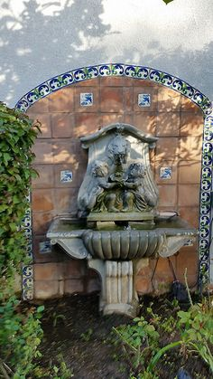 A Beautiful Garden Fountain Featuring Saltillo Wall Tile With Decorative  Hand Painted Ceramic Spanish Tiles