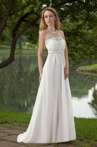 Beautiful Strapless Beaded White Long Graduation Dress for High School