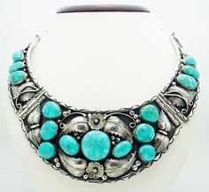Vintage Kaysu Navajo Turquoise 18  Heavy Necklace in Sterling Silver