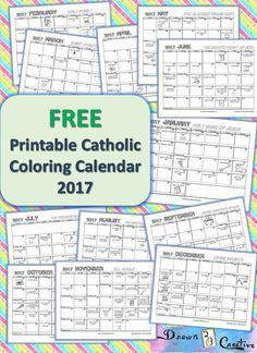 Free Printable Catholic Coloring Calendar 2017