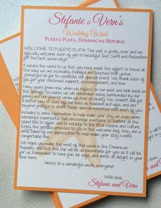 """Great Addition for Wedding Welcome Bags! This listing is for 5"""" x 7"""" printed Welcome letter with Starfish design."""