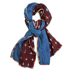PATCH NYC - SCARVES - PATCH NYC BLUE WITH PLUM IKAT CLASSIC {F102}