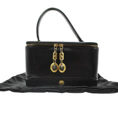 Authentic Gianni Versace Black Leather Hand Vanity Bag Italy Vintage B13789