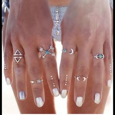Boho 6 Pc Turquoise Ring set Above the knuckle & midi Silver Zinc Alloy rings for that Free People look. Variety of sizes to fit most. Free People Jewelry Rings