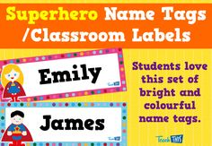 Superhero Name Tag Labels 4 – Editable MORE ON THIS THEME HERE