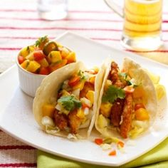 Fish tacos with Tilapia and a spicy Mango Salsa