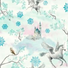 A stunning, magical, fantasy design wallpaper with encased glitter accents. Unicorns fly between soft clouds towards a beautiful fairy tale castle. In cool and trendy icy blue and soft lilac it is perfect to create the perfect princess bedroom. <BR><BR>Design Match: Offset<BR> Design Repeat: 53cm <BR> Roll length: 10.05m <BR> Roll width: 53cm<BR><BR>Co-ordinates perfectly with Wilko paint. We love Duck Egg and Stardust.
