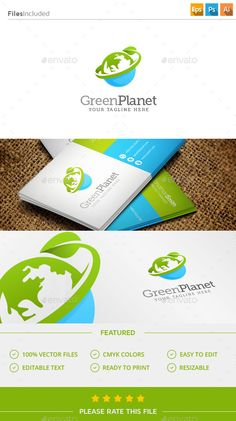 Green Planet  Logo Design Template Vector #logotype Download it here: http://graphicriver.net/item/green-planet-logo/11445443?s_rank=848?ref=nexion