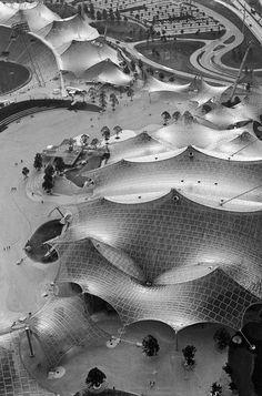 Olympiapark, Munich, 1972 Frei Otto, Behnisch & Partner Photo via Johannes Wachter Gothic Architecture, Amazing Architecture, Contemporary Architecture, Landscape Architecture, Architecture Design, Historic Architecture, Membrane Structure, Tensile Structures, Grand Parc