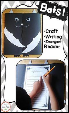 Bats Halloween Mini Unit! Kindergarten, 1st, 2nd, 3rd; emergent reader, craftivity, and writing https://www.teacherspayteachers.com/Product/Bats-2097733