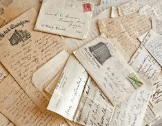 John Derian collected these handwritten letters from various print dealers in New York and Boston. Vintage Letters, Old Letters, Rotulação Vintage, Vintage Style, Vintage Romance, Vintage Ephemera, Vintage Hotels, Going Postal, Handwritten Letters