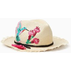 Kate Spade Hummingbird Trilby (€110) ❤ liked on Polyvore featuring accessories, hats, flower hat, kate spade, straw trilby hat, straw hats and trilby hats