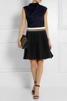 Bouchra Jarrar|Pleated silk-jacquard and crepe dress|NET-A-PORTER.COM