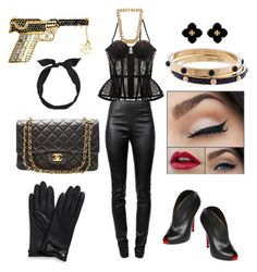 Black and gold-blooded killer by sustinoco on Polyvore featuring polyvore, fashion, style, Alexander Wang, I.D. SARRIERI, Christian Louboutin, Chanel, Louis Vuitton, Tory Burch, Balenciaga, yunotme and clothing