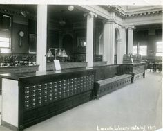 Springfield, IL. Old Lincoln Library research room. Courtesy of Springfield Rewind and Sangamon Valley Archives.
