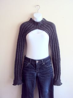 Hand Knit Long Sleeve Charcoal Grey Bolero Sweater Shrug Women Spring Fall Winter Clothing Fashion Accessories Gift Ideas MADE TO ORDER by GrahamsBazaar, $75.00