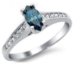 .55ct Blue Marquise Diamond Engagement Ring 14k White Gold