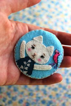 Felt Cat Brooch with Bird
