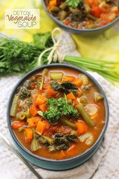Need to detox from a day of sweets or a night of drinking? Try getting that fresh start from this nutrient packed Detox Vegetable Soup recipe. With eight different types of vegetables, you are sure to get the detox you're craving. | healthy diet dinner foods
