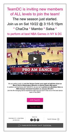TeamDC is inviting new members of ALL levels to join the team! The new season just started. Join us on Sat 10/22@3:15-5:15pm  * ChaCha * Mambo * Salsa * to perform at best NBA Games in NY & DC