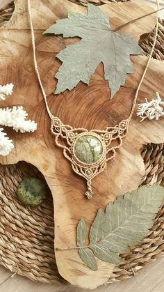 Goddess macrame necklace with green jasper healing crystal.