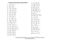 Ejercicios propuestos de Ecuaciones de Primer Grado con denominadores