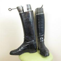 Vintage Men's Black Leather Riding or Dress Boots by BasyaBerkman