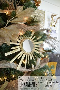 DIY Sunburst Mirror Ornaments out of popsicle sticks--Tatertots and Jello #DIY #Christmas #Ornaments