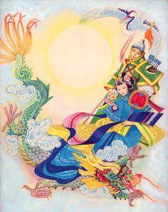 "Illustration ""Fiabe cinesi 1958, Libico Maraja"