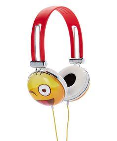Love this Wink Face Emoji Headphones on #zulily! #zulilyfinds