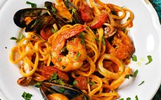 rick stein,seafood lingune,An easy seafood linguine packed with prawns, squid and mussels Seafood Linguine, Prawn Pasta, Linguine Recipes, Seafood Menu, Seafood Pasta Recipes, Shellfish Recipes, Seafood Dinner, Pasta With Prawns, Italian Recipes