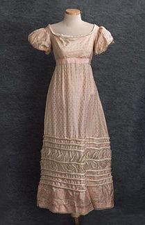 satinado vestido de damasco, c.1825