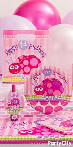 Your cute little love bug is turning one! Make it a pretty in pink celebration with Party City's Pink Ladybug 1st Birthday Party supplies! Transform your party into a springtime garden with matching decorations, balloons and tableware.