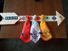 Great idea for the Cub Scout neckerchiefs for the boys. Cub Scout Law, Cub Scout Uniform, Cub Scouts Wolf, Tiger Scouts, Scout Mom, Scout Leader, Girl Scouts, Cub Scout Crafts, Cub Scout Activities
