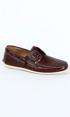 John Varvatos Schooner Boat Shoe in Dark Brown $225