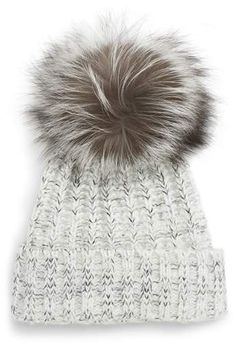 dbeebdada91 KYI KYI Cable Knit Beanie with Genuine Fox Fur Pom Fur Pom Pom