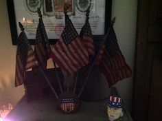 My favorite flag collectable . 48 star flags on a stand thane attaches to a car radiator cap .