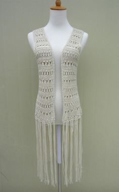 Largo negro con flecos Crochet chaleco Top Festival