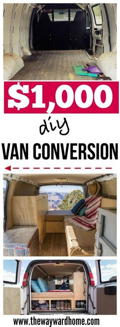 How to do a camper van conversion for just $1,000 to live the van life #vanlife #campervan #camper