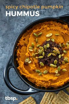 Our favorite hummus recipe is all dressed up for fall! Pumpkin puree and tons of warming spices make this the perfect app to tuck into when the temp starts dropping. Spicy Hummus, Hummus Recipe, Appetizer Ideas, Appetizer Recipes, Appetizers, Pumpkin Hummus, Pumpkin Puree, Chipotle Chili, Salads